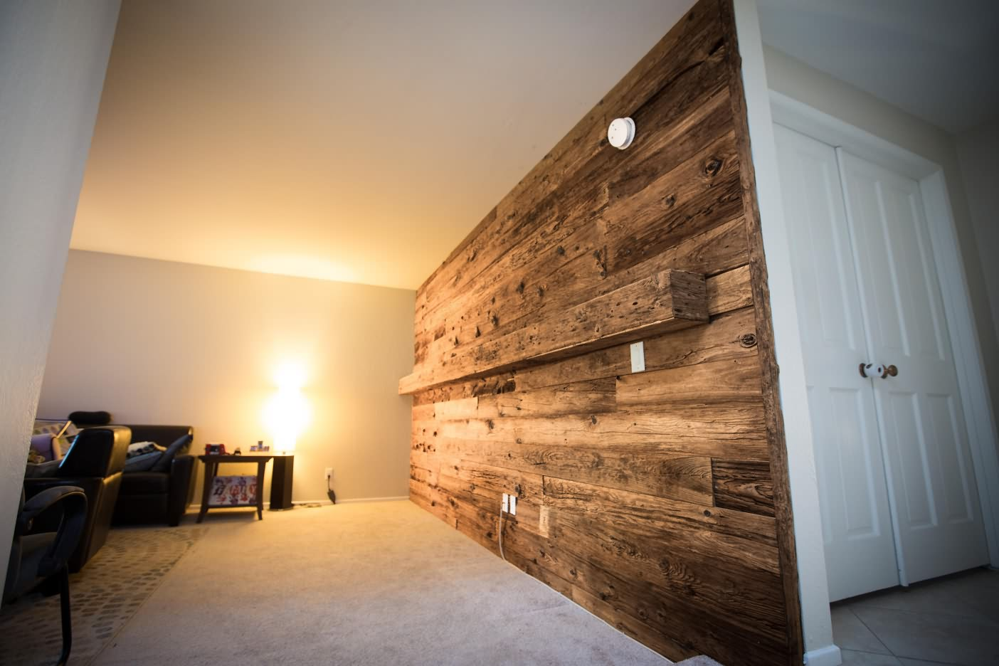 wooden interior wall paneling